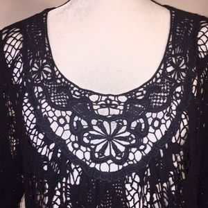 Bella Amore Italy Tops - Bella Amore Italy Top Tunic Lace Crocheted Black